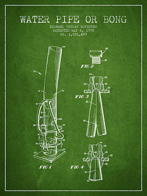 Bong Digital Art - Water Pipe Or Bong Patent 1975 - Green by Aged Pixel