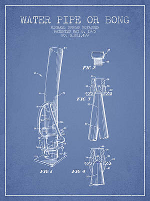 Bong Digital Art - Water Pipe Or Bong Patent 1975 - Light Blue by Aged Pixel
