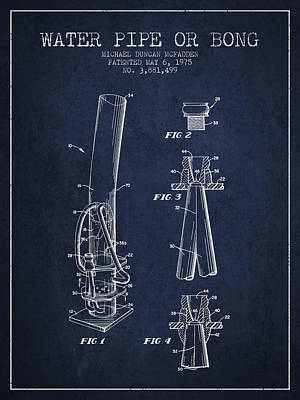 Bong Digital Art - Water Pipe Or Bong Patent 1975 - Navy Blue by Aged Pixel