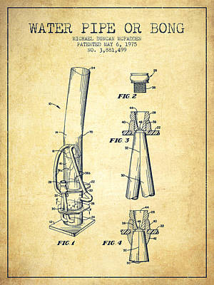 Bong Digital Art - Water Pipe Or Bong Patent 1975 - Vintage by Aged Pixel