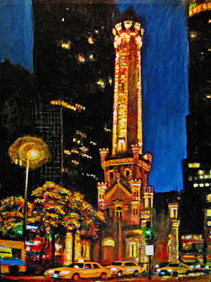 Water Tower At Night Print by Michael Durst