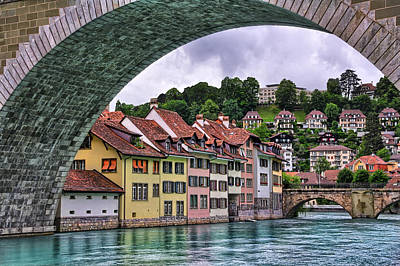 European City Photograph - Water Under The Bridge In Bern Switzerland by Carol Japp
