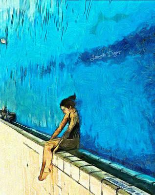 Pleasure Digital Art - Water Wall - Da by Leonardo Digenio