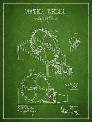 Wheels Drawing - Water Wheel Patent From 1880 - Green by Aged Pixel