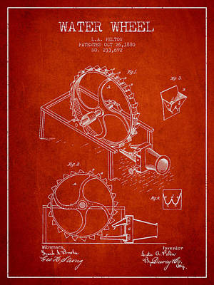 Wheels Drawing - Water Wheel Patent From 1880 - Red by Aged Pixel