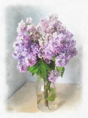 Lilac Drawing - Watercolor A Bouquet Of Lilacs. Greeting Card With Lilac Watercolor Drawings. by Anna Saifulina
