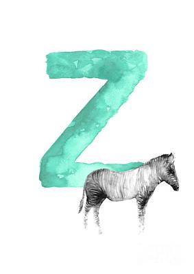 Zebra Painting - Zebra Kids Painting, Watercolor Alphabet Z Letter, Green Childrens Initials A-z Alphabet  by Joanna Szmerdt
