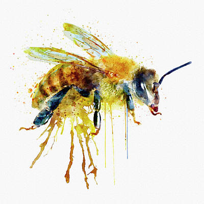 Single Digital Art - Watercolor Bee by Marian Voicu