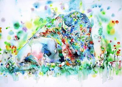 Watercolor Bisons.1 Original by Fabrizio Cassetta