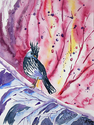 Flycatcher Painting - Watercolor - Black-crested Tit-tyrant by Cascade Colors