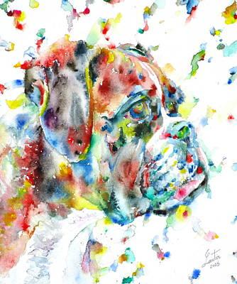 Watercolor Boxer Original by Fabrizio Cassetta