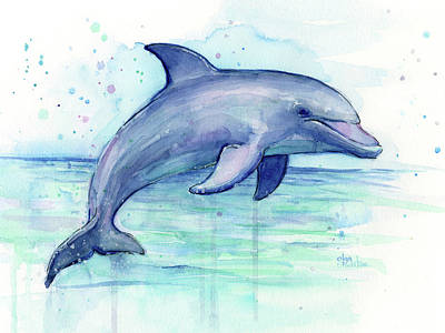 Watercolor Dolphin Painting - Facing Right Print by Olga Shvartsur