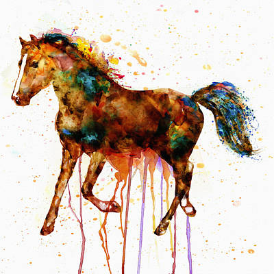 Watercolor Horse Print by Marian Voicu