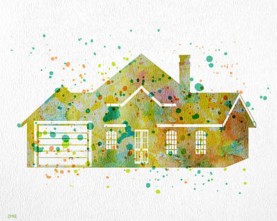 Whimsical Painting - Watercolor House  by Oiyee At Oystudio