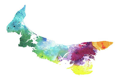Composite Painting - Watercolor Map Of Prince Edward Island, Canada In Rainbow Colors  by Andrea Hill