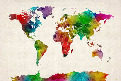 Watercolor Map Of The World Map Print by Michael Tompsett