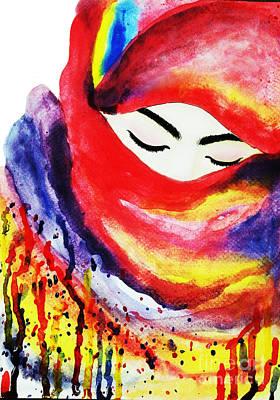Hijab Art Painting - Watercolor Muslim Women by Rasirote Buakeeree
