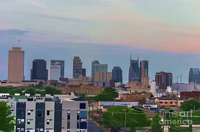 Frist Center Photograph - Watercolor Nashville Skyline During The Evening Sun by Photo Captures by Jeffery