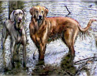 Retrievers Digital Art - Watercolor Of Water Dogs by Elizabeth Murphy