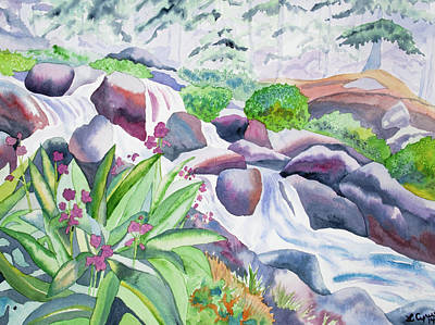 Watercolor - Parry's Primrose And Mountain Stream Original by Cascade Colors