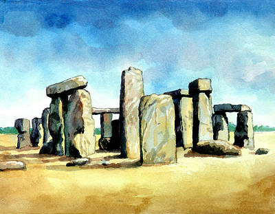 Megalith Digital Art - Watercolor Rendering Of Stonehenge by Photos.com