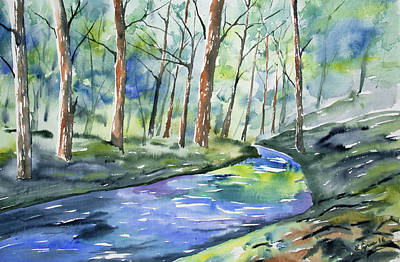 Arkansas Painting - Watercolor - Summer Forest And Stream by Cascade Colors