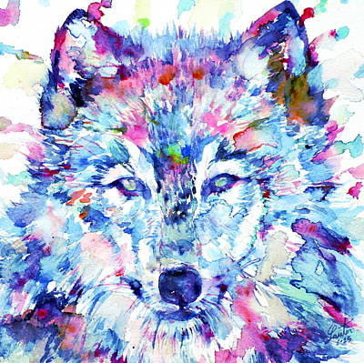 Wolf Face Painting - Watercolor Wolves.3 by Fabrizio Cassetta