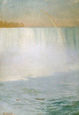 Water Painting - Waterfall And Rainbow At Niagara Falls by Albert Bierstadt