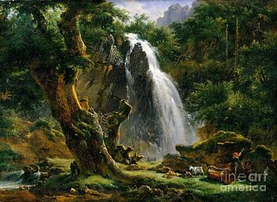 Dore Painting - Waterfall At Mont-dore  by MotionAge Designs