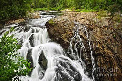 Waterfall In Wilderness Print by Elena Elisseeva