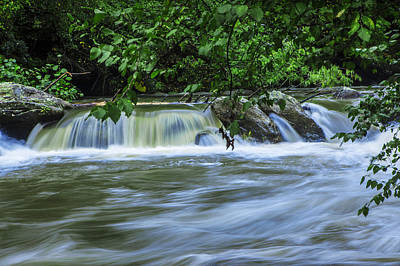 Waterfall On The Rocky Broad River Print by Randall Nyhof