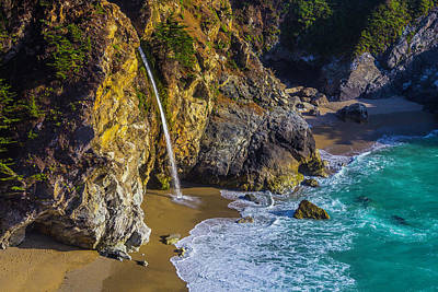 Of Big Sur Beach Photograph - Waterfall Pouring Into The Ocean by Garry Gay