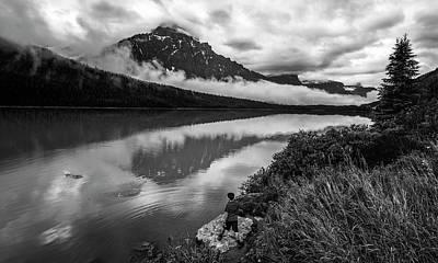 Alberta Photograph - Waterfowl Lake Banff Alberta Canada Bw by Joan Carroll