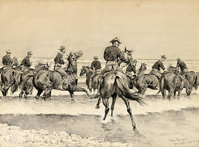 Lake Michigan Drawing - Watering The Texas Horses Of The Third Cavalry In Lake Michigan by Frederic Remington