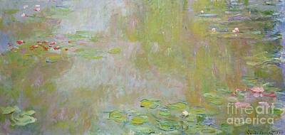 Aqua Painting - Waterlilies At Giverny by Claude Monet