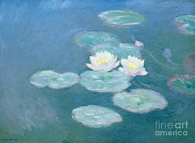 Floral Painting - Waterlilies Evening by Claude Monet