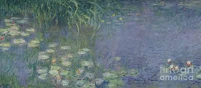 Waterlilies Painting - Waterlilies Morning by Claude Monet
