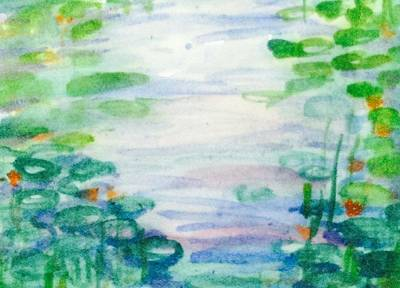 Waterlily Drawing - Waterlily Pond 11516 by Hae Kim