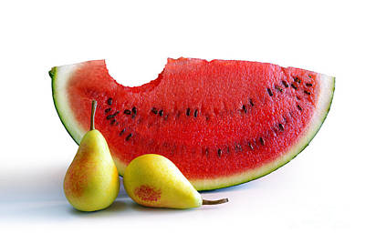 Watermelon And Pears Print by Carlos Caetano