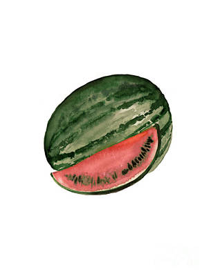 Watermelon Mixed Media - Watermelon Tropical Fruits Poster by Joanna Szmerdt