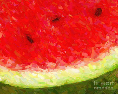 Watermelon Digital Art - Watermelon With Three Seeds by Wingsdomain Art and Photography