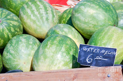 Watermelons With A Price Sign Print by Paul Velgos