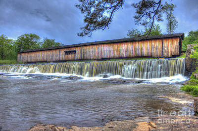 Grist Mill Photograph - Watson Mill Covered Bridge State Park by Reid Callaway