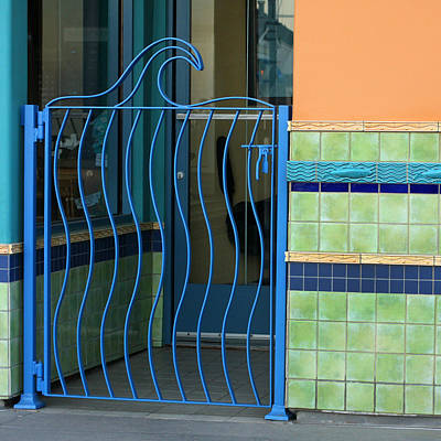 Metal Fish Art Photograph - Wave Gate With Tile by Art Block Collections
