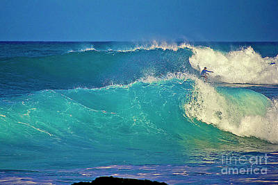 Waves And Surfer In Morning Light Print by Bette Phelan