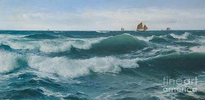 Waves Breaking In Shallow Waters Print by Celestial Images
