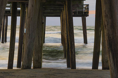 Waves Under The 32nd Street Pier - Avalon New Jersey Print by Bill Cannon