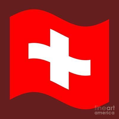 Switzerland Mixed Media - Waving Switzerland Flag by Frederick Holiday