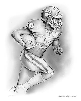 University Of Arizona Drawing - Wayne Gallman by Greg Joens