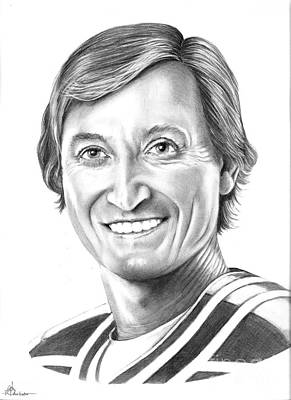 Hockey Original featuring the drawing Wayne Gretzky  Ninety Nine by Murphy Elliott